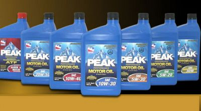 Peak Performance Lubricants Collection, including ATF and 6 motor oil bottles