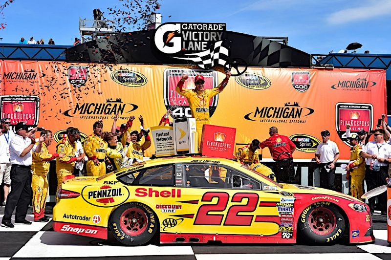 Nascar winner sponsored by Shell Lubricants in victory lane.
