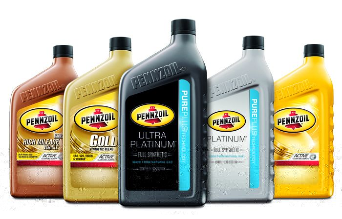 Pennzoil oil jugs, including synthetic and non-synthetic motor oil.